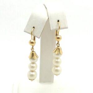 New 14k Gold Italy  Triple Pearl Dangle Drop Leverback Earrings