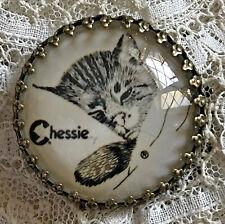 "CHESSIE The Chesapeake and Ohio Railroad Cat GLASS DOME BUTTON 11/4"" Vintage ART"
