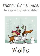 PERSONALISED GREETINGS CARD CHRISTMAS XMAS DOGS DOG PUG DACHSHUND SNOWMAN