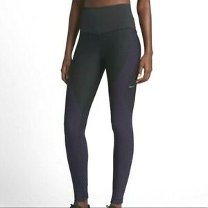 Pre-Owned Nike Women's Zone Sculpt Compression Tights Black/Purple 810965--011 L