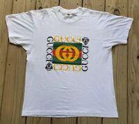 Vintage 80s Gucci Bootleg T shirt White 50/50 Screen Stars Designer Size Medium