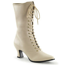 Pleaser Victorian-120 Size 5 Cream Ankle Boots Fancy Dress Up Lace Up Can-Can