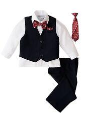 Infant Baby Toddler Boys 5-Piece Pinstripe Vest Set, Tie Bowtie and Pants