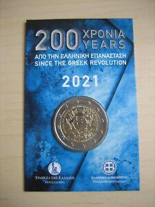 COINCARD GRECE 2021 B U 2 euros - 200 ans de la révolution Grecque. 20.000 exp
