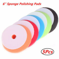 5Pcs 6 inch Flat Sponge Buff Buffing Pad Waxing Polishing Pad Kit Car Polisher
