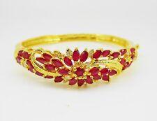 Gorgeous Thai Flower Ruby Cubic Zirconia CZ 23k 24k Yellow Gold GP Women Jewelry