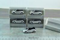 5 X Lot Wiking Volkswagen New Beetle Convertible Silver Car 1:87 HO (HO2491)