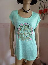 Damen Longshirt-Oberteil Grün meliert mit Floral-Motiv -Schriftzug Gr.42- 44 Neu