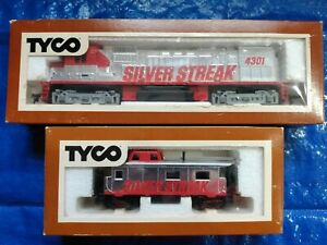 Tyco HO Scale Diesel Silver Streak 4301 W/Caboose and Original Boxes