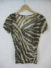 Dolce Gabbana Size 10 designer brown and latte mesh zebra top