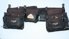 Double Oil Tan Leather 5 pc Waist Tool Apron movable Rig w/ Steel Hammer Holder