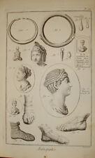 "Stampa antica ""Antichità"" archeology Diderot D'Alambert 1780 old print"
