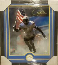 LADAINIAN TOMLINSON AUTOGRAPHED CUSTOM  FRAMED 16 × 20 PHOTO. PSA COA