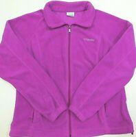 COLUMBIA Fleece Jacket Plum Purple Full Zip Long Sleeve Pockets Women's XL