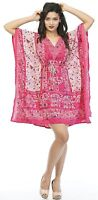 Elephant Top Beachwear Women kaftan Short Length Summer  Cocktail Dress Caftan