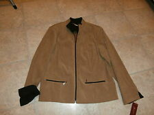 JM Collection TAN Brown Shirt Micro Suede Jacket Size 14 NWT