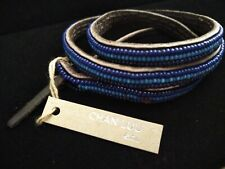 Chan Luu Signed NWT Leather Triple Wrap Blue Beaded Bracelet