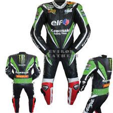 Tute in pelle e altri tessuti traspirante verde in pelle per motociclista