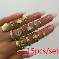 Bohemian Gold Silver Midi Finger Ring Set Vintage Punk Boho Knuckle Ring Jewelry