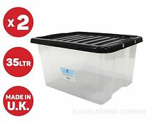 2 x 35 LITRI scatola di immagazzinaggio di plastica con coperchio nero! pesanti forte BOX-SCATOLA utile!!!
