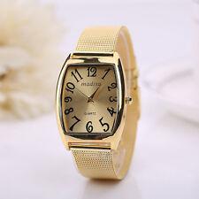 Edle Rechteckige Head Damen Lady Classic Quarz-Edelstahl-Armbanduhr-Gold Mode