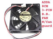 ADDA 8cm AD0812XB-A73GL 12V 0.55A 3Wire ball bearing Cooling Fan w/fan guard NEW