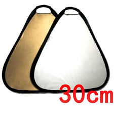 "2-in-1 Collapsible Triangle Studio Light-Reflector - Gold & Silver 30cm /12""."