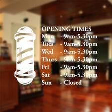 Barber shop opening times window sticker wall decal custom  bb18