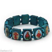 """Claire's All Saints Wood Tile Stretch Bracelet Blue  1/2"""" W New"""