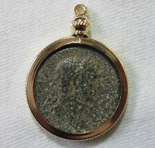 Ancient Roman Bronze Coin Pendant. Emperor Trajan, 98-117 Ad. See Pics.