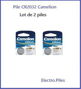 Lot de 2 Piles Cells boutons CR2032 3V lithium de marque Camelion