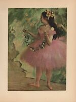 "1951 Vintage DEGAS ""DANCER IN A ROSE DRESS"" BALLET COLOR Art Print Lithograph"