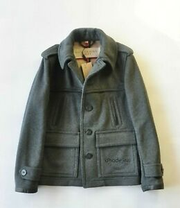 $1650 Authentic BNWT BURBERRY BRIT Wool Blend Peacoat Mens Small IN Dark Grey