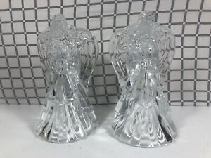 "Vintage Pair of Angel Candle Stick Holders 7.5"" Thick Lead Crystal Glass"