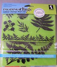 Inkadinkado Ferns & Leaves Cling Rubber Stamp Set Background Border 7 Pieces
