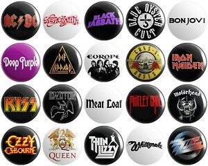 20 x Heavy Rock Bands BUTTON PIN BADGES 25mm 1 INCH | Various Artists Metal