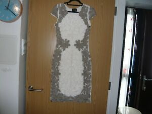 ladies phase eight dress size 12 cream coffee pattern