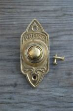 VICTORIAN GOTHIC REVIVAL STYLE BRASS FRONT DOOR BELL PUSH BUTTON BELL PUSHER CB7
