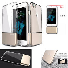 For iPhone 8/8 Plus case USAMS Shockproof Aluminium Back+Clear TPU Case for iPho