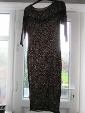 BNWT UK 8 River Island Midi Dress Stretch Bodycon Beige Black Jewels Aztec New