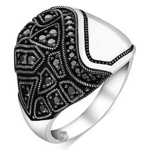 Solid 925 Sterling Silver Black Micro Stone Modern Italian Design Men's Ring