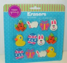 Easter Holiday Basket Stuffer 12 Shaped Erasers Butterfly Carrots Bunny Deal/3