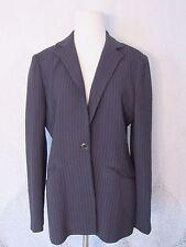 OSCAR by Oscar De La Renta Black Striped Wool Blend Long Blazer Jacket Size 6