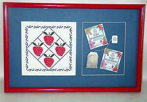 """Strawberry Needlepoint Tea Bags Collage Blue Matte 19.5x12.5"""" Red Frame FREE SH"""