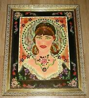 VINTAGE VICTORIAN GIRL GARDEN STRAWBERRY FLOWERS BOTANICAL JEWELRY GEMS PAINTING