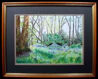 Original Irish Art Watercolour Painting Peatlands Park Co Fermanagh Signed