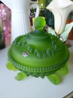 Westmoreland green satin frosted argonaut shell 3 footed candy dish with lid