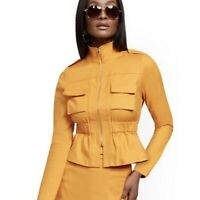 Women NY&CO Gold Linen Safari Jacket 7th Avenue size XS