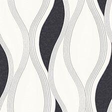 Black Silver White E62009 Wave Glitter Metallic Textured Direct Wallpaper