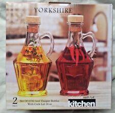 Vintage 1898  yorkshire  set of 2  oil and vinegar bottles with cork lid 16 oz